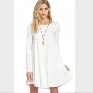 Cream White T-shirt Dress with Pockets